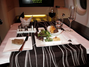 Fine dining in Etihad First Class
