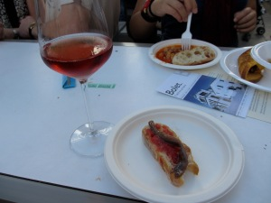 Fresh anchovy and a glass of the local cava rose