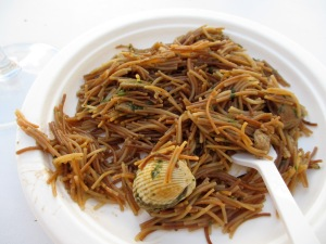 A noodle paella - salty like the sea