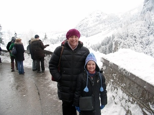 MissG and I enjoying a freezing cold day at Neuschwanstein - snug and warm