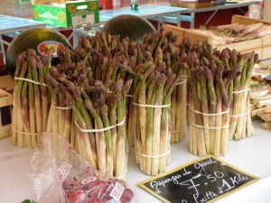 Bunches of local, seasonal asparagus