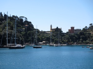 Our first glimpse of Portofino harbour