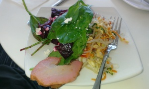 My lunch of char sui pork, beetroot, fetta and spinach salad, and that gorgeous Asian noodle salad