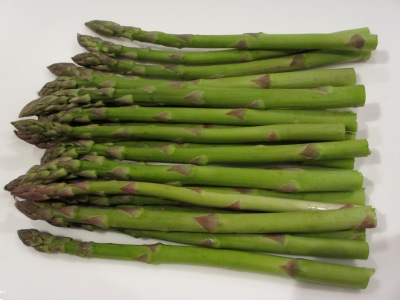 My fresh, seasonal asparagus, ready for a light steam - spring on a plate!