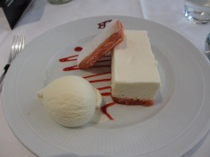 White chocolate mousse charlotte with biscuit rose at Brasserie Flo