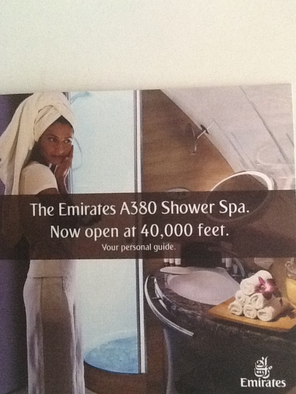 front page of Emirates A380 shower booklet