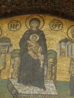golden mosaic of the Virgin Mary and Jesus Christ