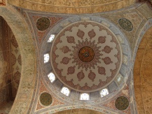 travel, travel tips, travel planning, painted ceiling decoration inside the dome of the Blue Mosque