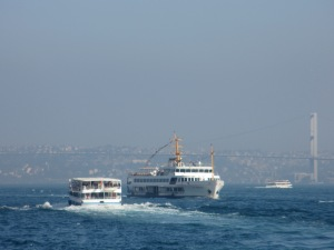 two boats on the Bosphorus, Istanbul, travel, travel tips, travel planning