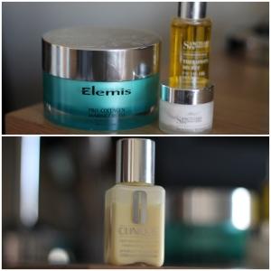 bottles of Elemis and Clinique moisturiser