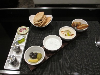 Arabic mezze in the Abu Dhabi First Class lounge