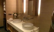 Etihad Lounge Sydney ladies restroom with twin basins