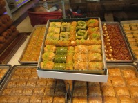 window display of baklava