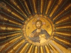 Jesus in a circular ceiling mosaic