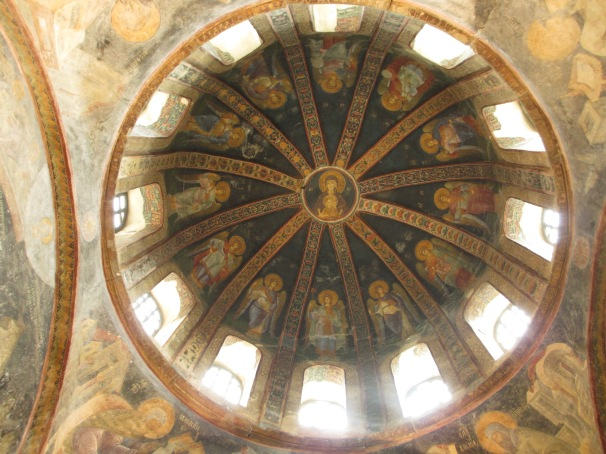 religious fresco paintings in a ceiling dome