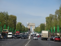 view of the Champs Elysees and Arc de Triomphe with Paris traffic