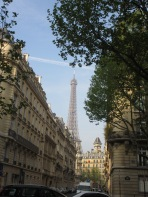 View of Eiffel Tower from the streets of the 7th arondissement
