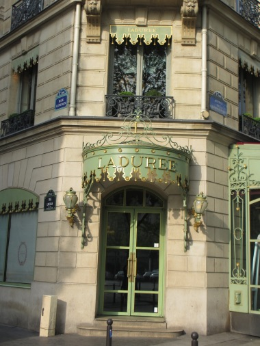 Front door of Laduree in Paris, Champs Elysees