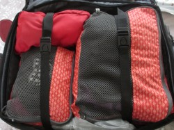 Two tangerine Kathmandu packing cubes