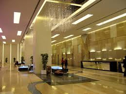 expansive hotel lobby area