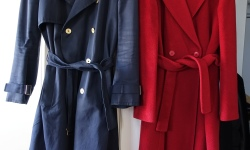 red woollen overcoat and blue YSL trench coat