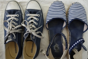 Blue and white striped espadrilles and dark blue converse sneakers