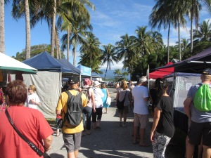 crowds at the Sunday market in port douglas