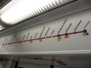 route map of a Barcelona metro train