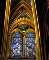 Stained glass window with golden columns Sainte Chapelle Paris
