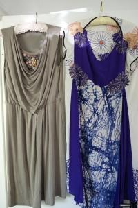 taupe jersey Max Mara draped dress, with purple Akira silk dress