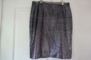 This silver skirt functions as a neutral that goes with all my tops
