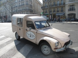 pink Citroen 2CV delivery van in Paris street