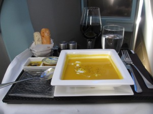 Etihad Business Class on board dining pumpkin soup