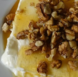slab of Greek yoghurt with honey and walnuts