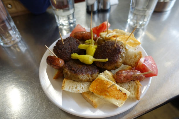 white plate of Greek mezes