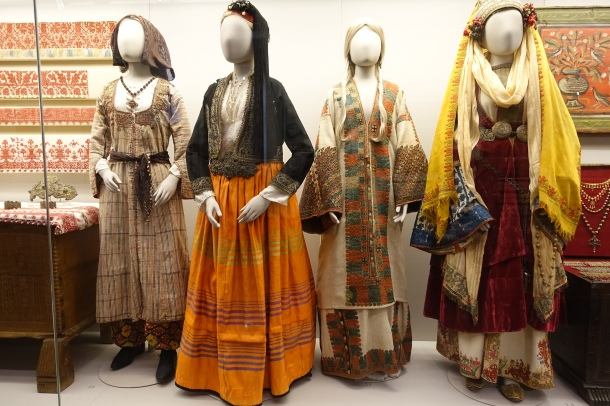 models wearing historical Greek costumes at the Benaki Museum, Athens