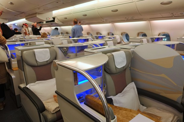 Emirates A380 business class cabin
