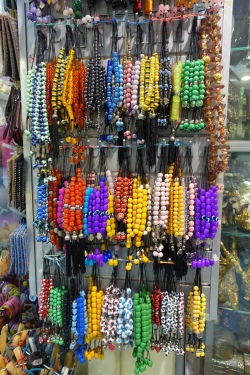 rack of coloured worry beads in Athens