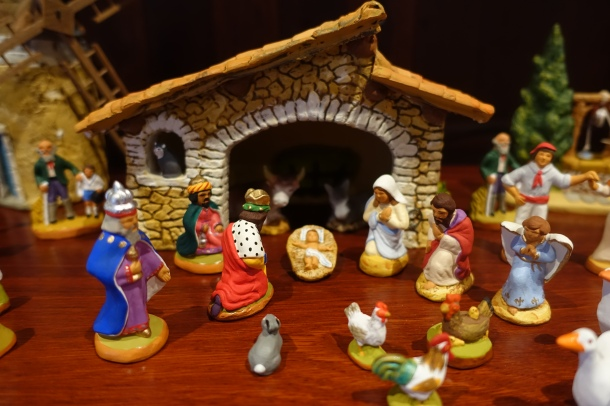 Provencal santon creche with 3 wise men, stable, Jesus, Mary, Joseph and the Angel Gabriel