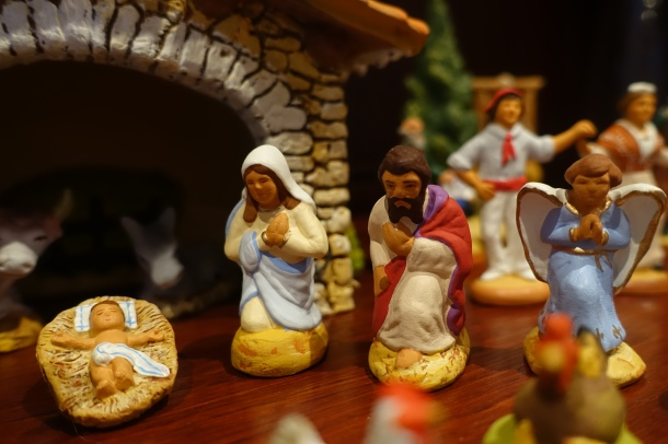santons of Jesus in manger, Mary, Joseph and the Angel