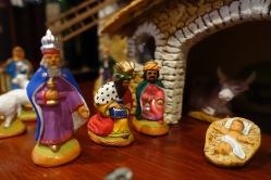 santons of the three wise men and Jesus in a manger