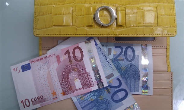 yellow wallet containing Euros