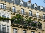 building in Paris with balconies and creepers