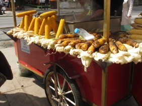 corn on the cob on a street stall in Istanbul