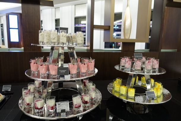 3 tiered stand of mousse shots in the Etihad lounge in Abu Dhabi
