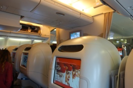 back of Emirates Business Class A330 seat