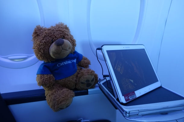 teddy bear and Samsung tablet on Virgin Australia Business Class