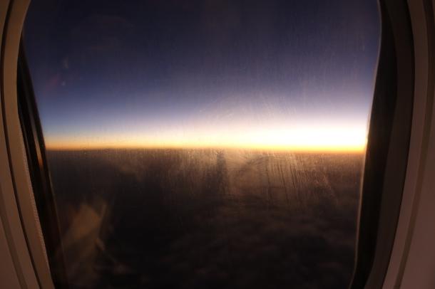 sunrise on the descent into Perth on Virgin Australia flight