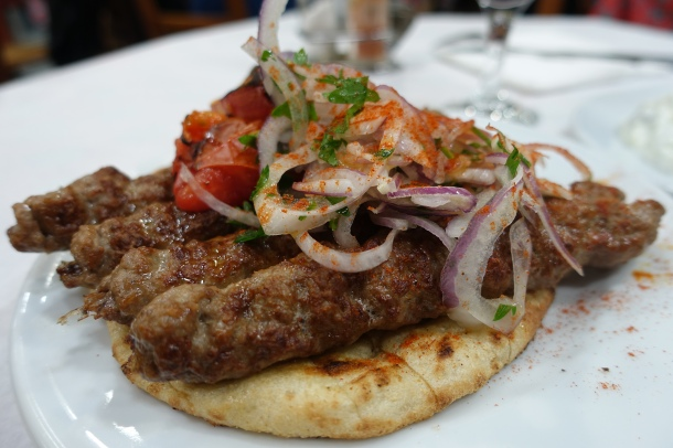pita bread with gyros and salad